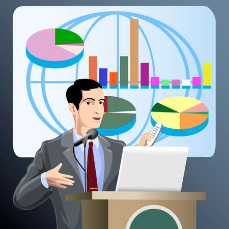 Illustration with discussing young man who presents new economic project  against visual screen with charts and schedules