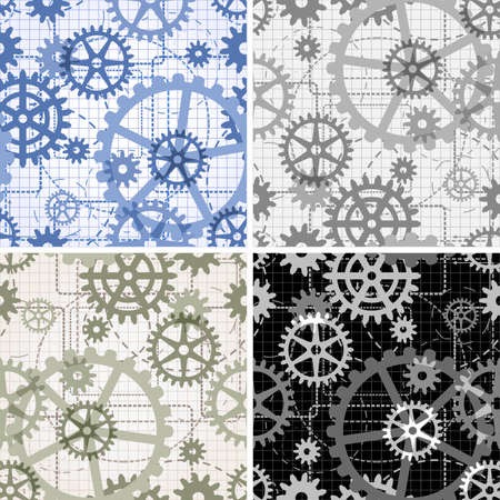 Set of seamless gear patterns drawn with use technical drawing style painted in four different color variations