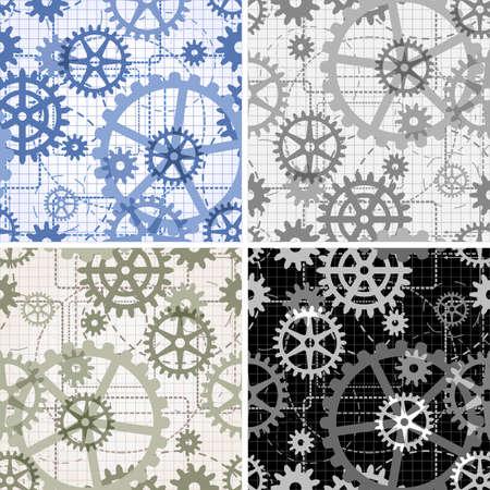 Set getekend met het gebruik van technische tekening stijl geschilderd in vier verschillende kleurvariaties naadloze versnelling patronen