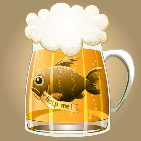 Funny illustration with a beer mug and fish inside crying for help drawn in cartoon style.