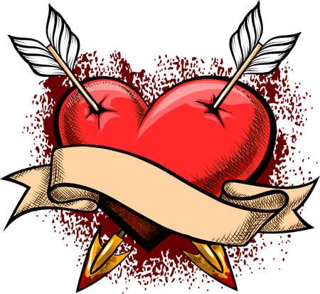 durchbohrt: Illustration mit Herz durch zwei Pfeile und Banner gegen Blutspritzern durchbohrt in Tattoo-Stil gezeichnet