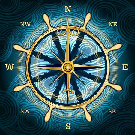 Illustratie met gouden kompas met windroos en handwiel achter tegen een golvende geweven achtergrond