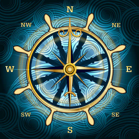compass rose: Illustration with golden compass with wind rose and hand wheel behind against wavy textured background