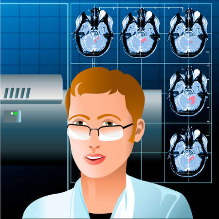Illustration with young doctor sitting in mri diagnostic room against tomograms and medical equipment