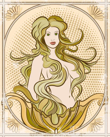 Illustration with young pretty mermaid against half-tone background decorated by ropes frame drawn in vintage style. Vector