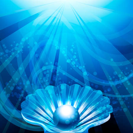 Illustration with pearl in open shell against blue sea background with bubbles and sun rays