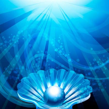 conchas: Ilustraci�n con perla en shell abierto contra el fondo azul del mar con las burbujas y los rayos del sol