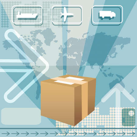 Illustration with delivering box against world map and icons of plane, truck and cargo ship