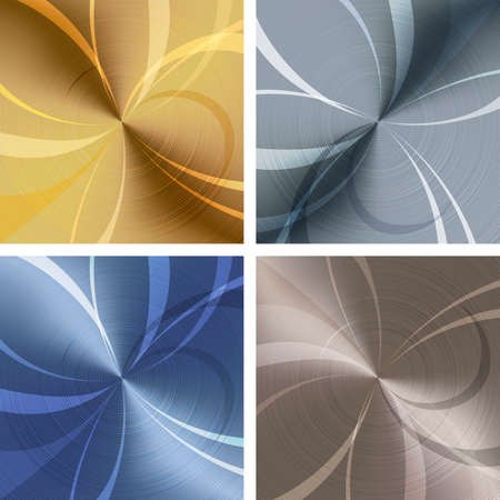Set of  backgrounds with metallic texture drawn in different colors