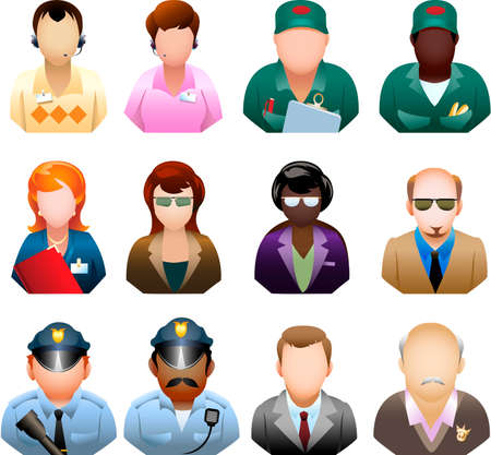 A collection of twelve icons representing various corporate people