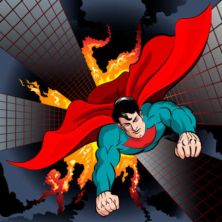 traits: Illustration with superhero flying to fight with crime and protect the city drawn in comics style Illustration