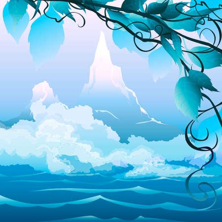 이른 아침 안개 강 풍경과 산 그림