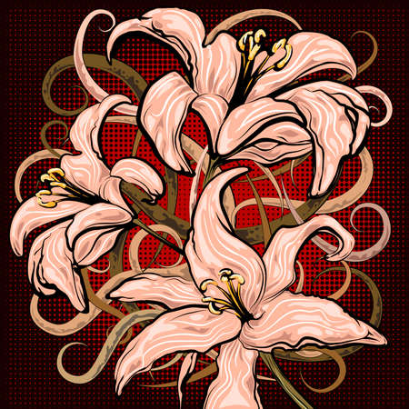 Illustration with pink lilies against halftoned dark background drawn in cartoon style