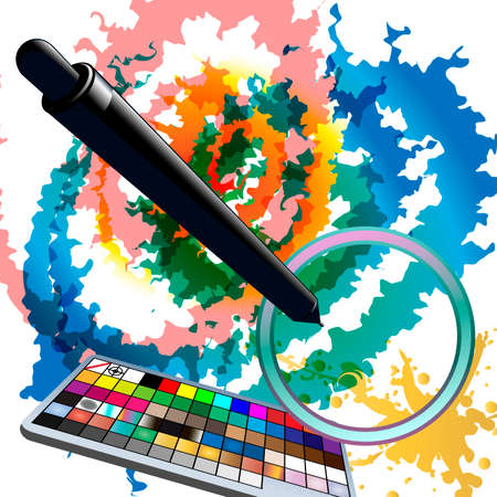 Illustration with tablet grip pen above digital sketch and illustrator swatches panel  Illustration