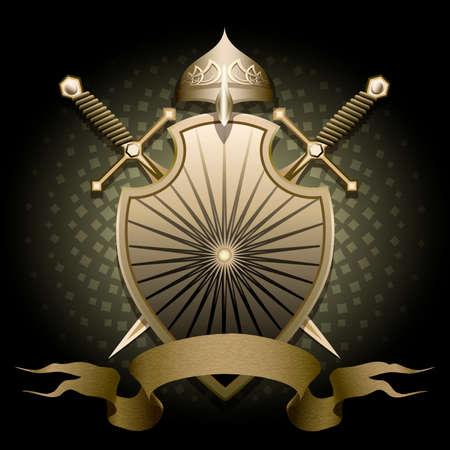 rycerze: Tarcza z kaskiem dwa miecze i banner na tekst na ciemnym tle zielony rysowane w stylu klasycznym