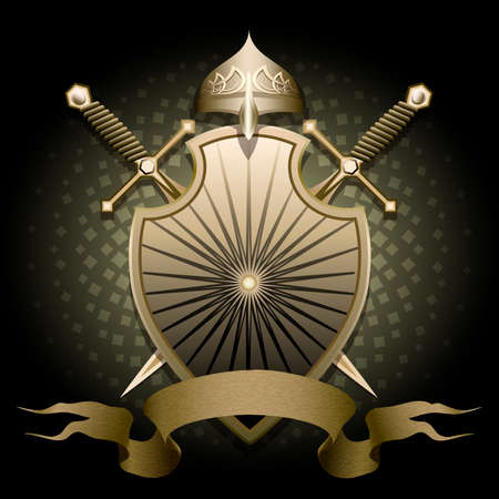 cartoon knight: The shield with helmet two swords and banner for text against dark green background drawn in classic style