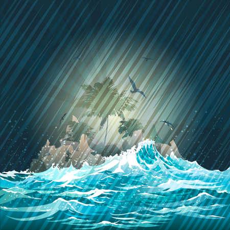 Illustratie met verloren eiland in de bestorming oceaan tegen nacht regenachtige hemel Stock Illustratie