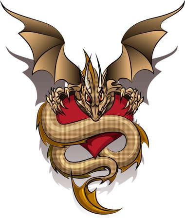 De oude draak, die het hart getrokken in cartoon stijl bewaakt Stock Illustratie