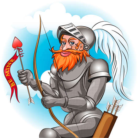 damsel: Knight in the armour with bow and arrow  ready to send love message to his damsel drawn in cartoon style