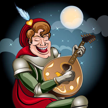 Illustration with minstrel in armour and red coat play on lute and sing serenade to his damsel drawn in cartoon style