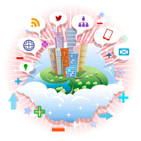 Abstract illustration with city and social media icon on a clouds floating in the air drawn in graphic icon style Illustration