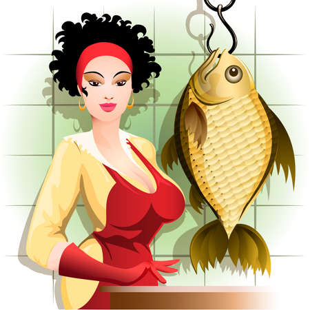 Illustration with young woman thinking about how she will cook such huge fish Illustration