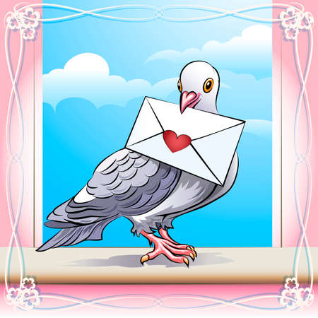 Illustration with pigeon sitting on a window sill with love message in his beak against clear sky