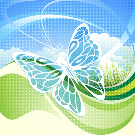 saturated color: Illustration with butterfly against bright morning drawn with use of half-tone pattern