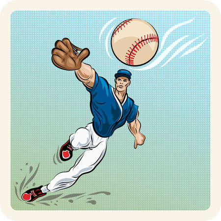 Illustration with leaping outfielder who tries to catch tthe ball drawn in vintage style Vector