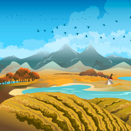 late autumn: Illustration with flocks of migratory birds against late autumn landscape Illustration