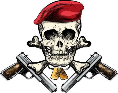 koel: Illustratie met schedel in baret en twee pistolen getrokken in tattoo schets stijl Stock Illustratie