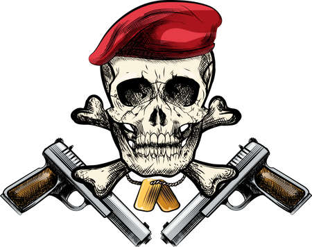 firearms: Illustration with skull in beret and two pistols drawn in tattoo sketch style Illustration