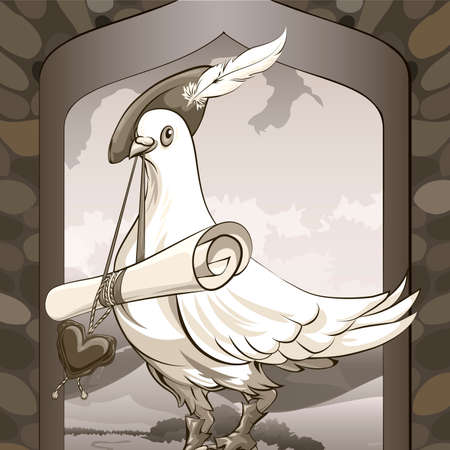herald: Illustration with dove sitting on a castle window in herald clothes with roll love message  against village landscape drawn in vintage style Illustration