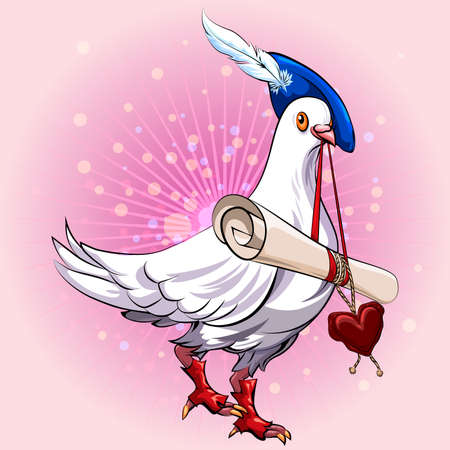 Illustration with pigeon in herald clothes bringing love message in his beak against festive bubbles background Illustration