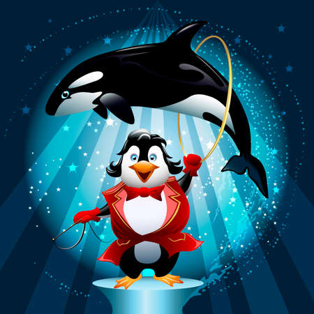 Illustration with penguin the tamer with a hoop in which jumps trained killer whale in front of circus show background drawn in cartoon style Vector