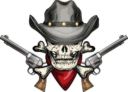 Illustratie met schedel in cowboy hoed en zakdoek tegen twee revolvers getrokken in tattoo schets stijl