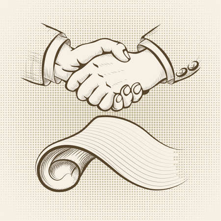 equal opportunity: Illustration with handshake above signed agreement drawn in vintage style Illustration