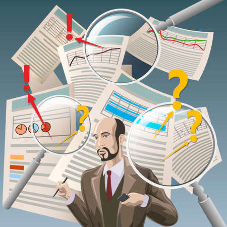 Illustration with auditor analyzing financial documents and three  magnifying glasses as metaphor of deep examination Illustration