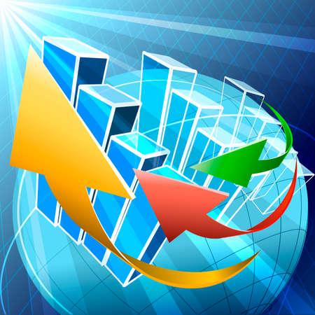 Illustratie met pijlen en grafieken over de hele wereld vliegen in de ruimte als allegorie van de huidige trends in de wereldwijde economie Stock Illustratie