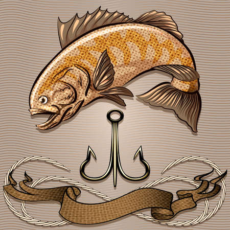 Illustration with huge fish and treble hook above the ribbon and rope against wavy pattern drawn in retro style with use sepia palette