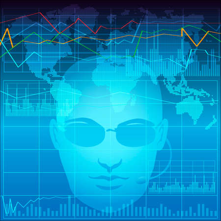 Illustration with financial analyst in process of exchange monitoring