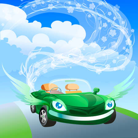 Illustration with winged environmentally friendly car against clear blue sky drawn in cartoon style Illustration