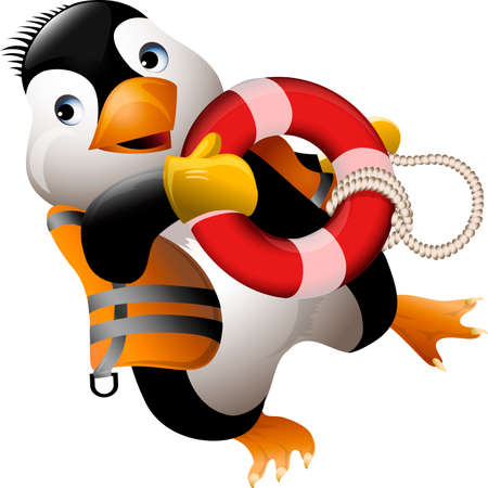 Funny illustration with penguin with life ring running to help drawn in cartoon style