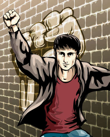 Illustration with boy who raised fist staying against the brick wall drawn in placard style