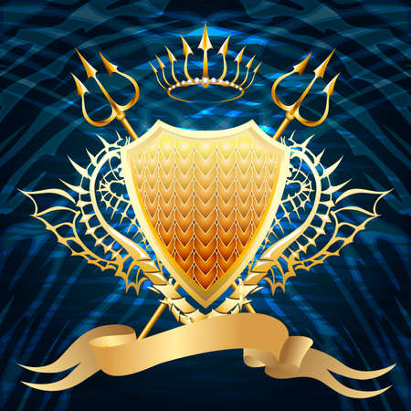 The golden shield with two tridents, crown and banner against dark blue wavy background drawn in classic style Vector