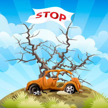 hazardous area sign: Illustration with the car on a dump in front of a tree without foliage and flag as appeal to stop environmental pollution Illustration