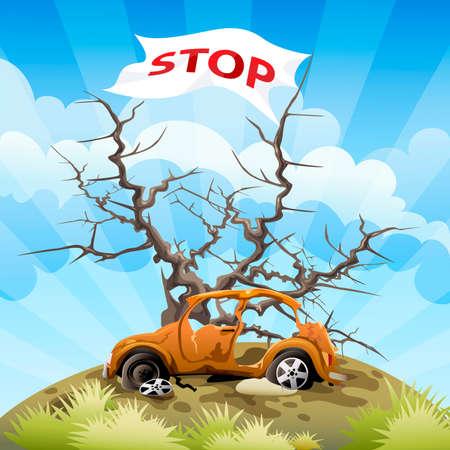 hazardous area sign: Ilustraci�n con el coche en un basurero en frente de un �rbol sin follaje y marcar como recurso para detener la contaminaci�n ambiental