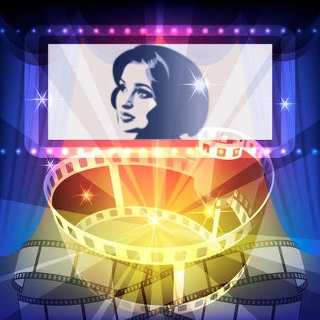 Film strip en brede filmscherm tegen de stralen van de cinema projector tegen feestelijke achtergrond Stockfoto