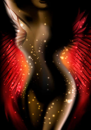Illustration with bubbles of light around winged woman body against dark background  illustration