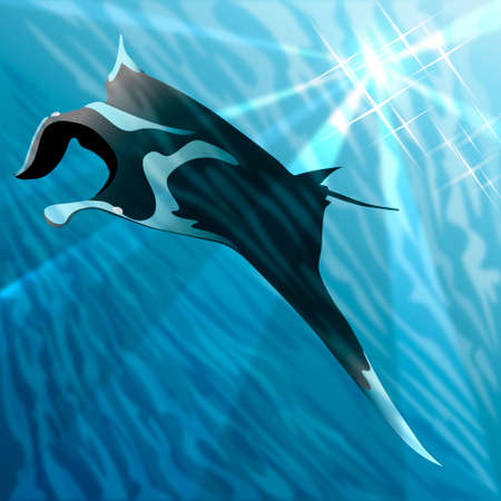 Manta ray floating against sea background